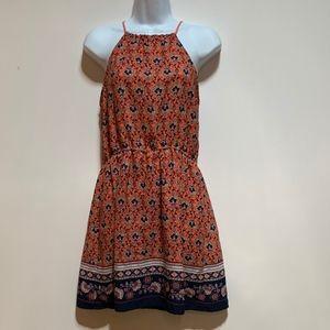 MINE Women Junior Floral Print Dress In Coral Sz M